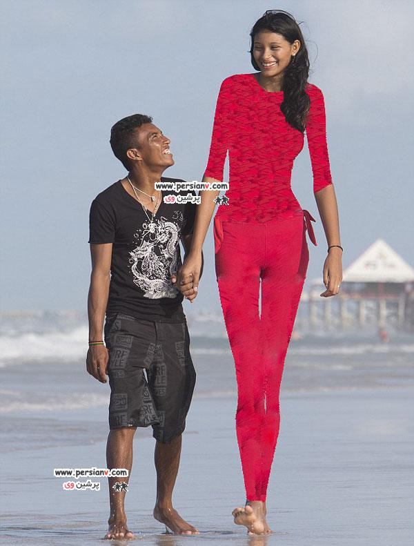 بلندترین دختر نوجوان دنیا و عاشق دلخسته اش +عکس