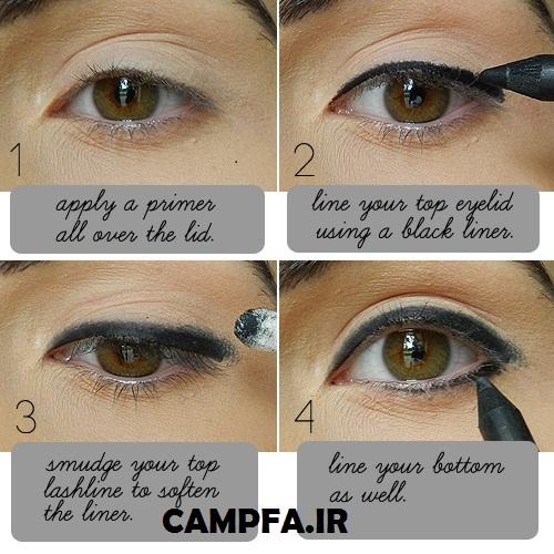آموزش تصویری کشیدن خط چشم www.campfa.ir