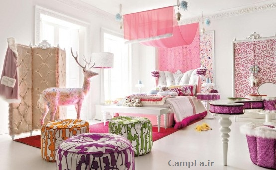 مدل دکوراسیون اتاق خواب دخترونه www.campfa.ir 92