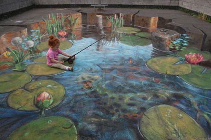 نقاشی های سه بعدی جالب و دیدنی روی زمین