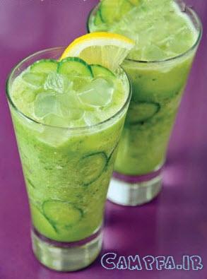 طرز تهیه نوشیدنی تابستانی خیار سنکجبین با طعم نعناع