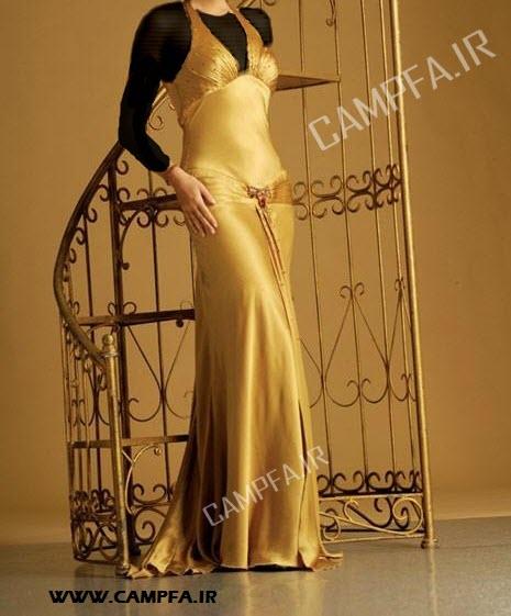 مدل لباس مجلسی زرد و طلایی زنانه 2013 - www.campfa.ir