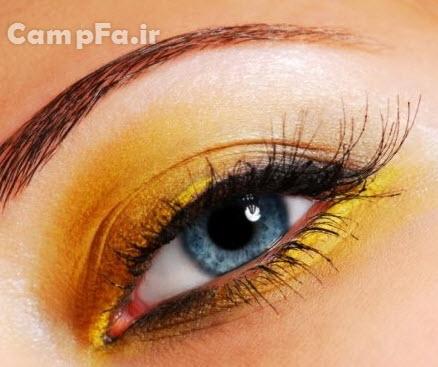 آرایش جدید چشم ها با رنگ زرد www.campfa.ir