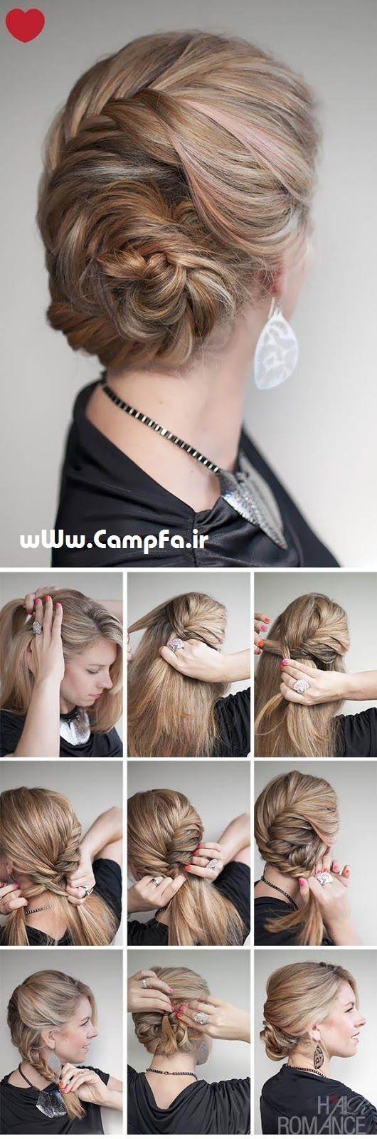 آموزش تصویری آرایش مو ,عکس بستن مو,بافت مو